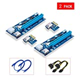 Yuan Yingze 2 Pack PCIE Riser PCI Riser 6 PIN 1x to x16 Powered Riser Adapter Card w/60cm USB 3.0 Extension Cable & PCI-E to SATA Power Cable - GPU Riser Adapter