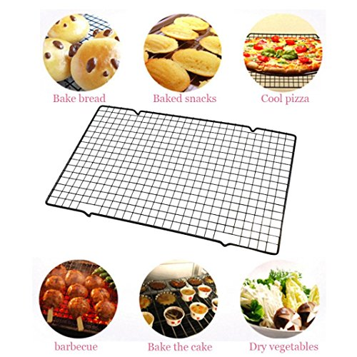 Cake Cool (Gessppo Stainless Steel Wire Grid BBQ Cake Cool Rack Safe Oven Kitchen Baking Tools Resistant High Temperature Easy to Operate and Clean)