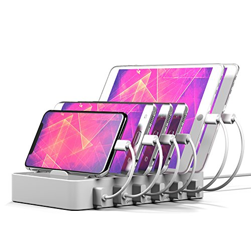 IMLEZON Charging Station 6-Port USB For Multiple Devices Brushed Aluminum Fast Charger Docking Organizer- iPhone, iPad, Android, Tablets And Other Gadgets by IMLEZON