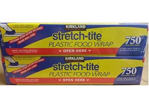 Kirkland Signature Stretch-Tite Plastic Wrap - 12 x 750 feet - 2 pk (Saran Wrap Cutter)