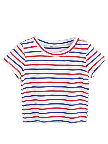 SweatyRocks Women's Striped Ringer Crop Top Summer Short Sleeve T-Shirts Multi L