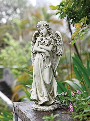 "Joseph Studio 19.75""H Angel Hugging a Bouquet of Flowers Garden Statue"