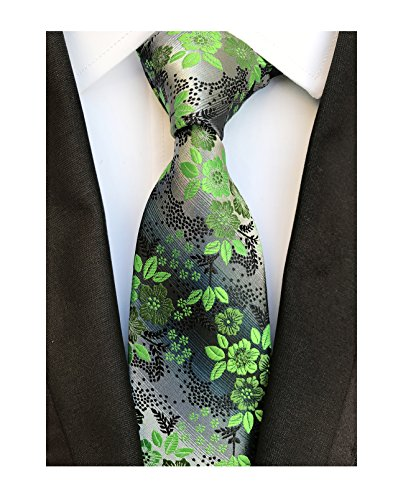 Men's Green Grey Textured Party Silk Jacquard Woven Self Ties Birthday Presents