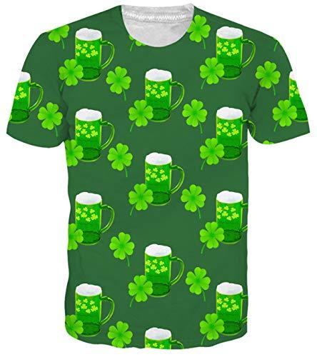 Adicreat Unisex Tshirt Funny St Patricks Day Shamrock Tees Lucky Leaf Blouse