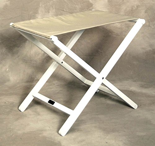 Sutton Bridge Monterey Large Folding White Frame Footstool in Linen