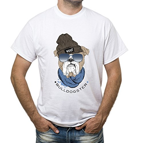 Funny English bulldog Bulldogster hipster in glasses beanie hat and scarf t-shirt for men - Men In Glasses Famous