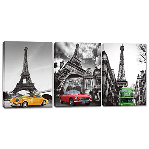 (Innopics 3 Piece Eiffel Tower Vintage Cars Green Bus Picture Print on Canvas Black and White Background Painting Retro Style Wall Art Decor Stretched and Framed for Home Office Living Room Decoration)