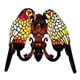 Makenier Vintage Tiffany Style Stained Glass Double Parrots Shades Wall Lamp Wall Fixture
