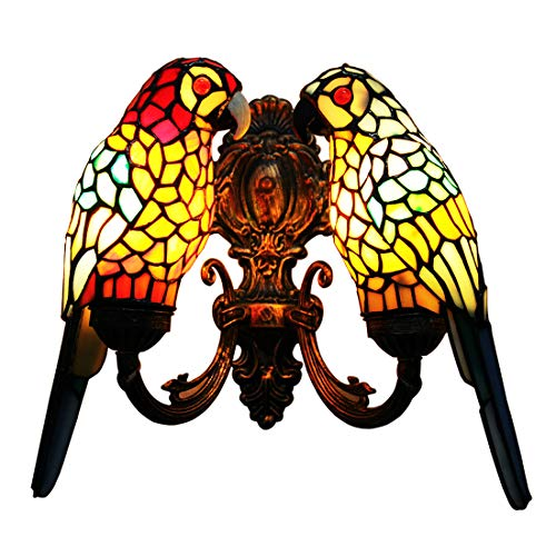 Makenier Vintage Tiffany Style Stained Glass Wall Sconce/Wall Light, Parrot Design, Antique Bronze Finish (Red Parrot + Blue Parrot) (Lamps Designs Whimsy)