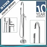 Cassellie CT002 Chrome Round Floor Mounted Free Standing Bath Tap Shower Mixer and Filler by Cassellie