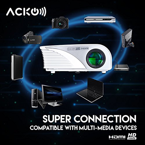 Acko Portable Mini HD LED Video Projector Office Home Theater 1200 LM Multimedia Outdoor 20''-150'' HDMI VGA USB AV SD Audio 1080P Smart Phone Tablet PC Computers Laptops White Warranty Included by EpandaHouse (Image #4)