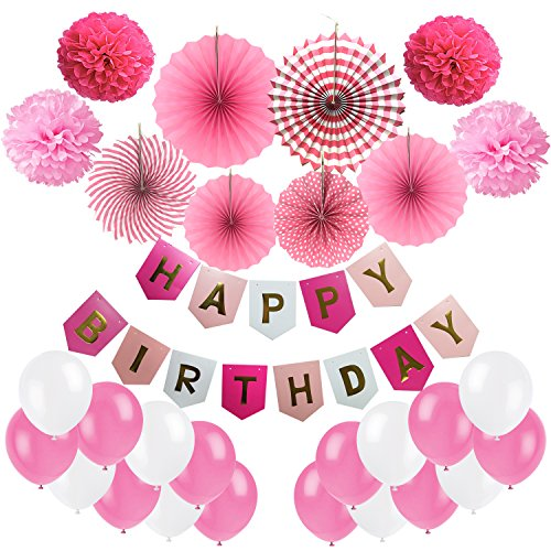 Birthday Decoration, Cocodeko Happy Birthday Banner, Tissue Paper Pom Poms, Hanging Paper Fan Set and 20 pcs Balloons for All Birthday Party Decorations - Pink, Rose Red and White by Cocodeko