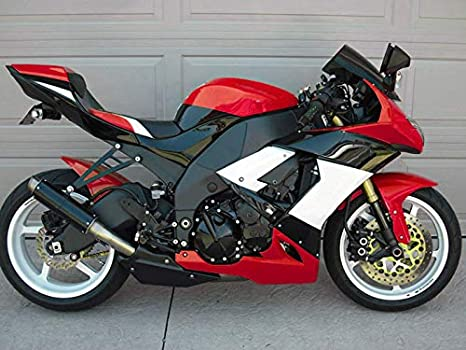 Moto Onfire Fairing Kits For 2008 2009 2010 Kawasaki Ninja ZX10R ZX-10R ZX 10R ABS Injection Mold - Red