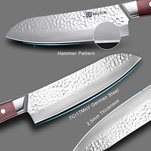 Santoku Knife 7 Inch, PAUDIN Pro kitchen knife High Carbon German Stainless Steel 7Cr17Mov Hammered Pattern, Sharp Knife with Ergonomic Pakka Wood Handle by PAUDIN (Image #2)
