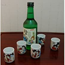 5 Small Glasses for Soju Decorated with Traditional Illustration About Man and Woman. 5 Glasses Set.