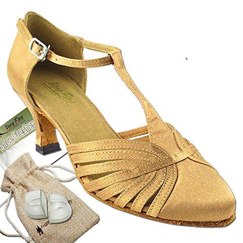 Women's Ballroom Dance Shoes Tango Wedding Salsa Dance Shoes Brown Satin 6829BEB Comfortable - Very Fine 2.5'' Heel 7.5 M US [Bundle of 5] by Very Fine Dance Shoes