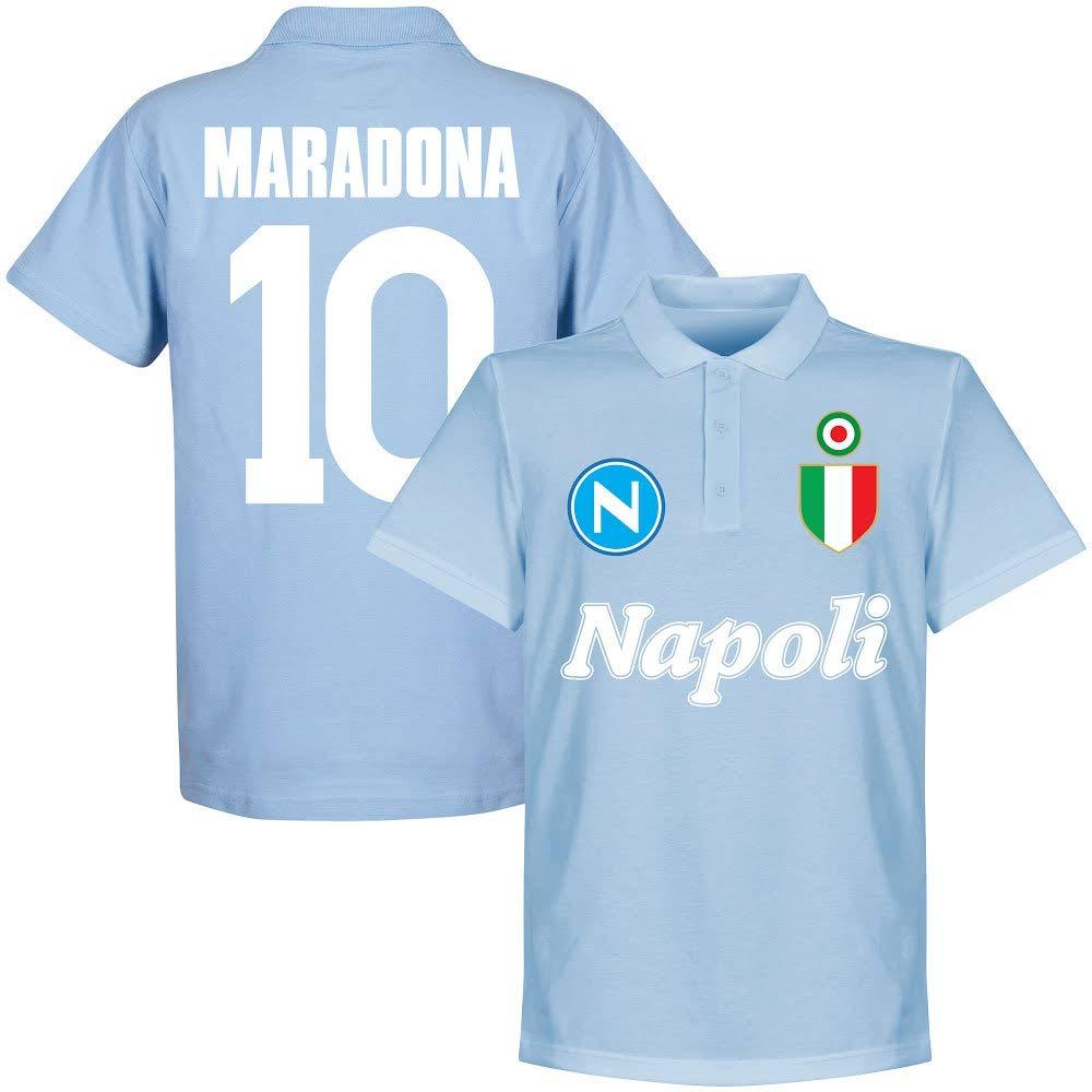 Retake Napoli Team Maradona 10 - Polo de Manga Corta, Color Azul ...