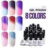 Sexy Mix Mood Gel Nail Polish Set, Soak Off UV Chameleon Color Changing Nail Polish Kit 8 Colors WSGP19 (Misc.)