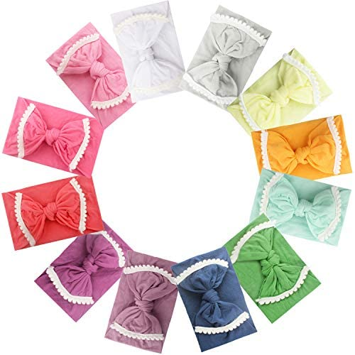 12PCS Baby Nylon Headbands 4.5Inch Hair Bows Turban Knotted Soft Elastic Hairbands Hair Accessories for Newborns Infants Toddlers Kids Children