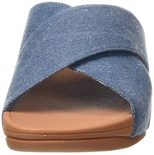 Infradito Blue Slide Shimmer Cross Donna Fitflop Lulu denim Blu HWqtvw1g