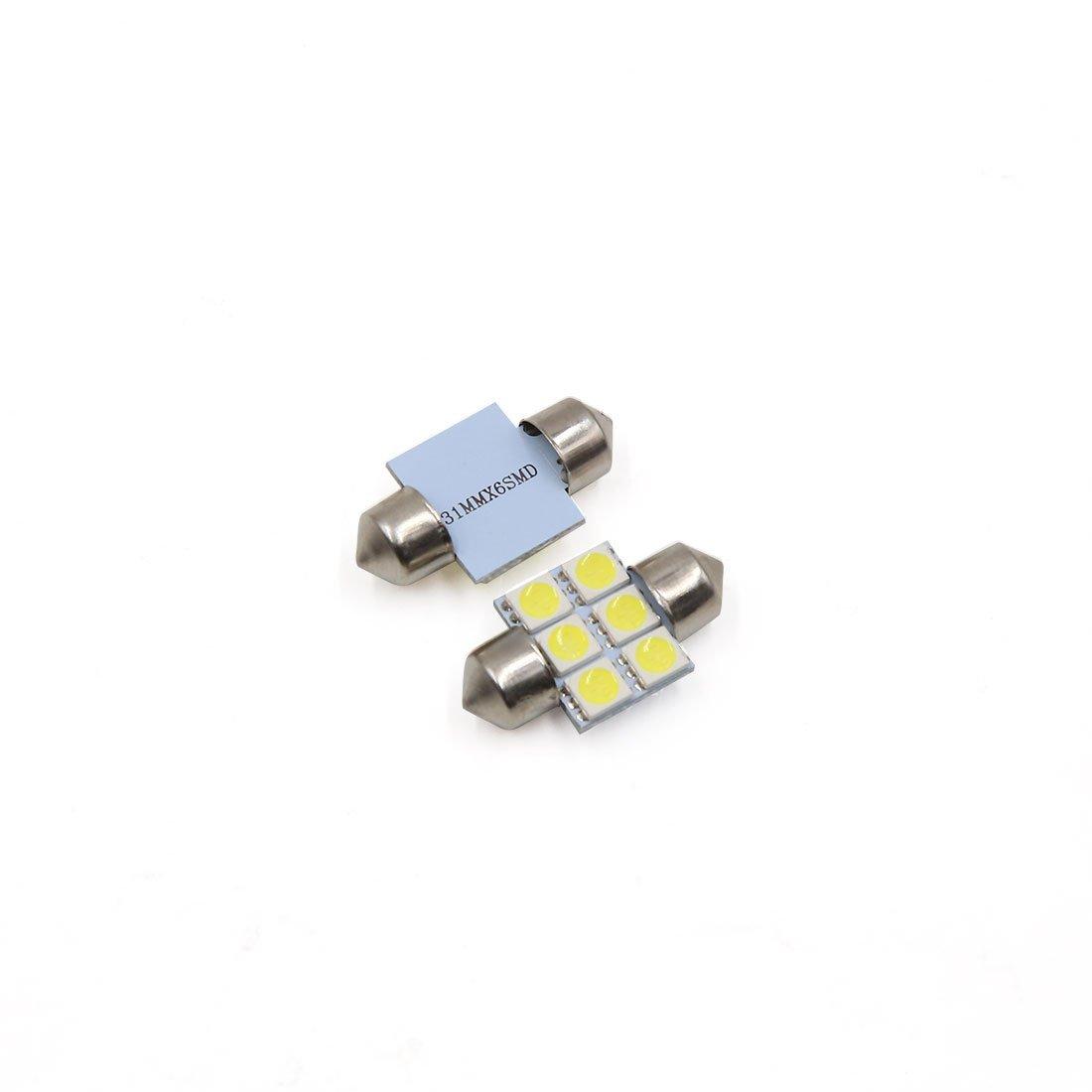 Amazon.com: eDealMax 4pcs 31mm 6 Bombilla LED SMD 5050 Adorno de la bóveda coche de la luz Blanca Interior 3022 DE3175: Automotive