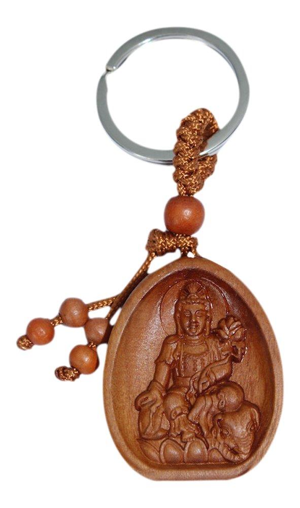 AsienLifeStyle Buddha Schlüsselanhänger Tara Anhänger Rosenholz Glücksbringer