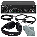 Photo Savings Behringer U-PHORIA UMC22 2in2out USB Audio Interface and Accessory Bundle w/Headphones + Xpix 1/4' and XLR Cable + Fibertique Cloth