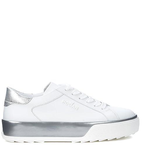 Sneaker Hogan H320 in pelle bianca e argento