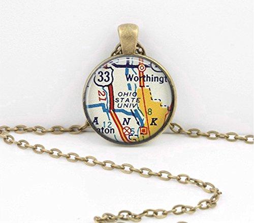 Ohio State University OSU Grad Gift Alumni Map Pendant Gift Vintage Map pendant necklace key ring travel gift jewelry (Osu Pendant)