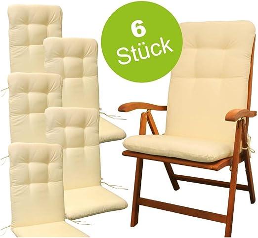 Indoba - Juego de 6 Cojines sillas de jardín, Color Beige: Amazon ...
