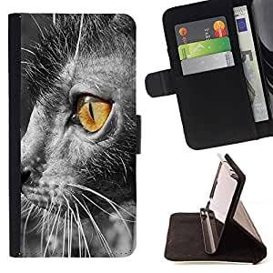 Momo Phone Case / Flip Funda de Cuero Case Cover - Lykoi amarillo brillante gris de ojos peludo; - LG G4c Curve H522Y (G4 MINI), NOT FOR LG G4