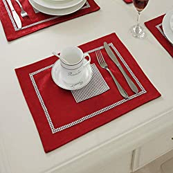 Red Table Mat With Sequined Rhinestone