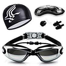Guzack Swim Goggles, Swimming Goggles Glasses No Leaking Anti-Fog UV Protection Coated Lens, Free Silicone Nose Clip, Ear Plugs, Fit for Adults, Men, Women, Youth, Kids