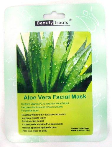BEAUTY TREATS Aloe Vera Facial Mask Refreshing Vitamin C Solution for All Skin Types (Choice Qty) 10 pk