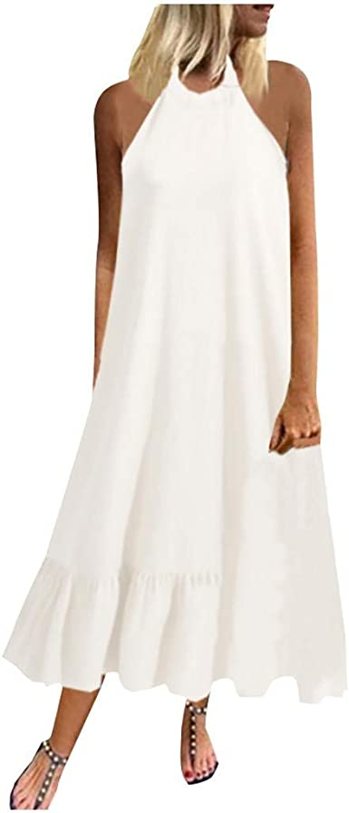 Vestidos de Mujer Belleza Vestido Largo Cuello Colgante Mujer ...