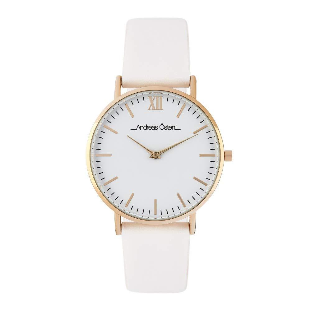 Montre Femme Andreas Osten à Quartz Cadran Blanc 36mm Et Bracelet Doré En PU AOS18049