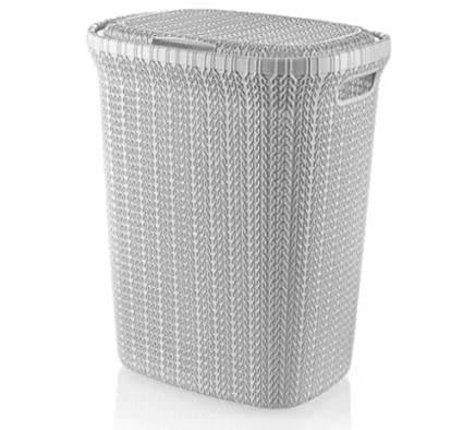 05f6a2181b4b Large 55 Litre Plastic KNITTED Laundry Basket Washing Clothes Storage  Hamper Bin (White): Amazon.co.uk: Kitchen & Home
