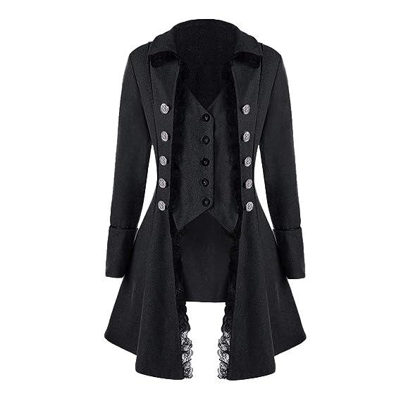 Damen Steampunk Gothic Barock Anzug Jacke Mantel