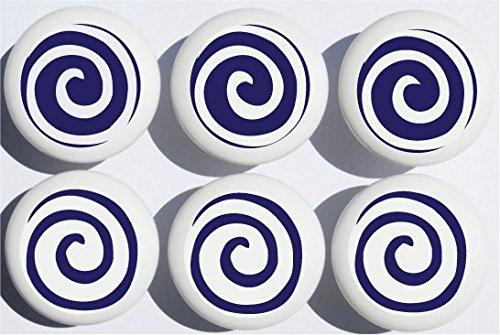 (Navy Blue Swirly Spirals Polka Dot Drawer Knobs/Whimsical Swirls Ceramic Cabinet Pulls for Nursery or Children's Room Decor (Set of 6))