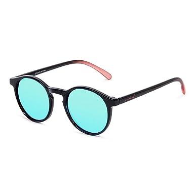 CORAL Sunglasses - CAPITAN - Gafas de sol negras y lentes espejo azul eléctrico. Acabado brillo mate