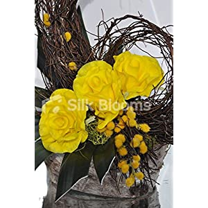 Modern Fall Vase Display Yellow Roses Orchid Leaves and Mimosa 2