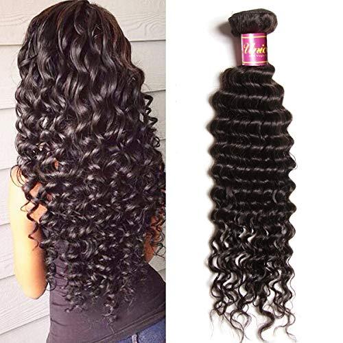 (Unice Hair 1 Bundle Brazilian Virgin Hair Deep Wave Hair Extensions Unprocessed Human Hair Wave Natural Color (22) )