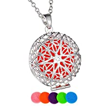 HooAMI Flower Aromatherapy Essential Oil Diffuser Necklace Pendant Locket Jewelry