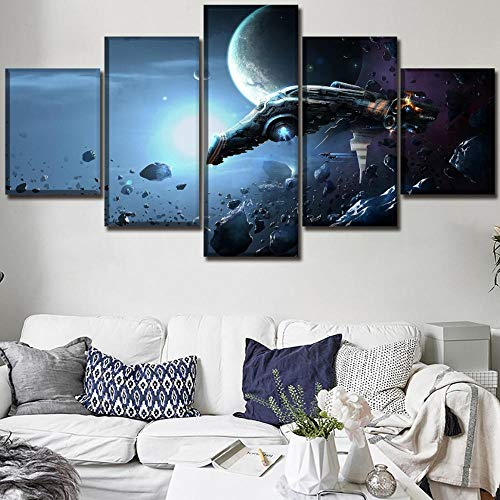 sansiwu Wall Art Modular Picture Canvas Print Poster Home Decorative Living Room 5 Piece Game Eve Online Painting Frame