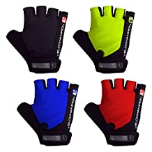 VeloChampion Summer Cycling Race Gloves - Fingerless Mitts with Pro Gel Palm available in Black, Blue, Red or Fluoro Yel