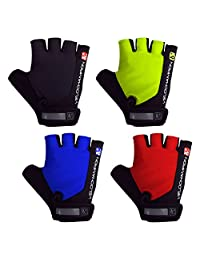 VeloChampion Summer Cycling Race Gloves - Fingerless Mitts with Pro Palm available in Black, Blue, Red or Fluoro Yel