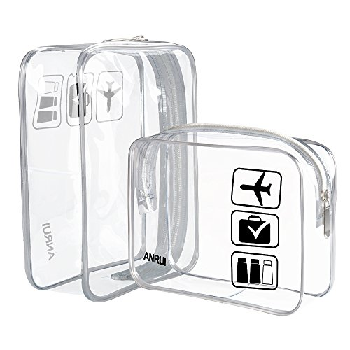 Price comparison product image (2 Pack) Clear Toiletry Bag TSA Approved Travel Carry On Airport Airline Compliant Bag Quart Sized 3-1-1 Kit Travel Luggage Pouch (Clear)