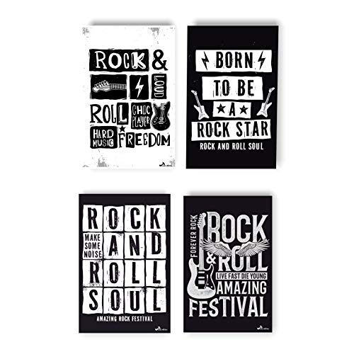 Rock and Roll Poster | Vintage Print Decor For Classroom | Classical Music Concert Wall Art | The Greatest Musical Details For Room | Set Of Classic Guitar Posters | Retro Band Prints For Musician]()
