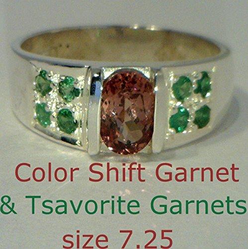 [Color Shift Garnet and Green Tsavorite Garnets in Sterling Silver Ring size 7.25] (Tsavorite Green Garnet)