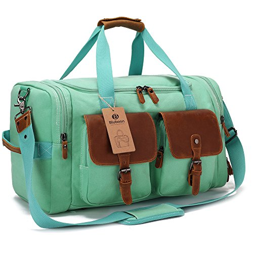 BLUBOON Weekender Duffle Bag Canvas Overnight Travel Duffel with Shoe Compartment for Women Leather Carry on Luggage Travel Tote Bag (Mint Green) by BLUBOON (Image #2)